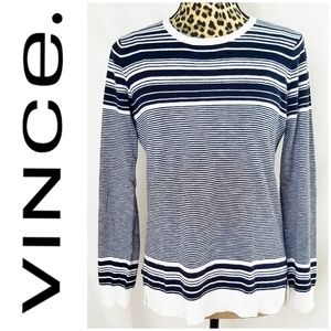 Vince. Navy & White Striped Lightweight Sweater